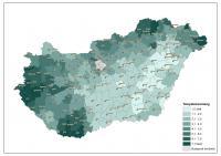 A járások településsűrűsége