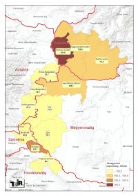 Népsűrűség alakulása Nyugat-magyarországon és a környező határon túli területeke