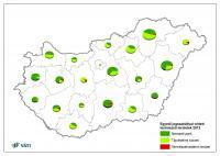 Egyedi jogszabállyal védett természeti területek eloszlása megyénként 2012