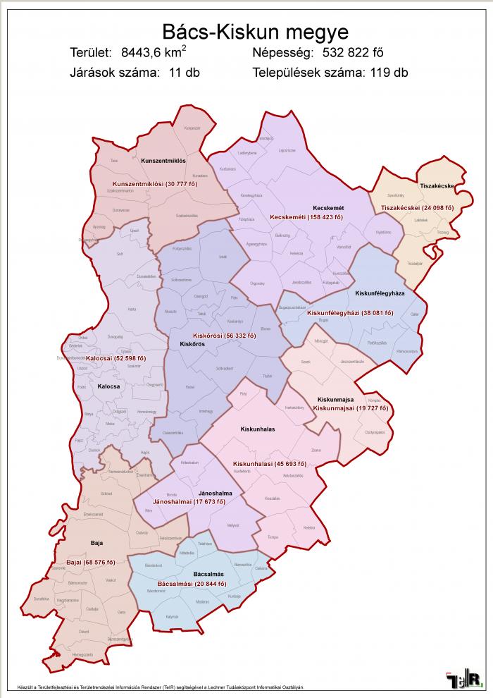 bács megye térkép Bács Kiskun megye járásai (terület: 8443,6 km2, népesség: 532 822