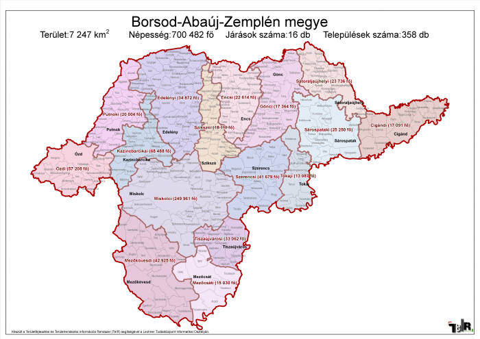 borsod térkép Borsod Abaúj Zemplén megye járásai (terület: 7 247 km2, népesség  borsod térkép