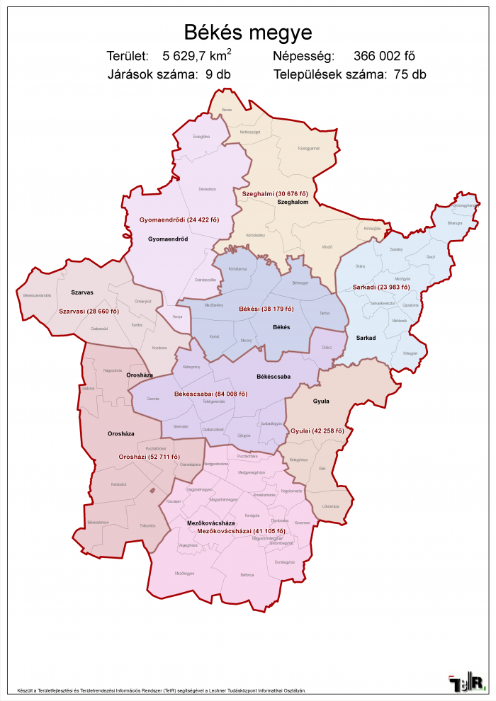 Békés megye járásai