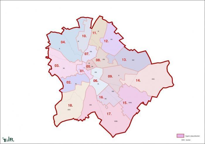 Budapest, egyéni választókerületek (2011.12.30.)