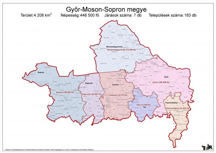 Győr-Moson-Sopron megye járásai