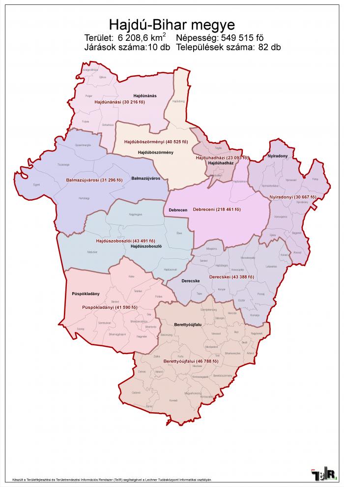 hajdú bihar megye térkép Hajdú Bihar megye járásai (terület: 6208,6 km2, népesség: 549 515  hajdú bihar megye térkép