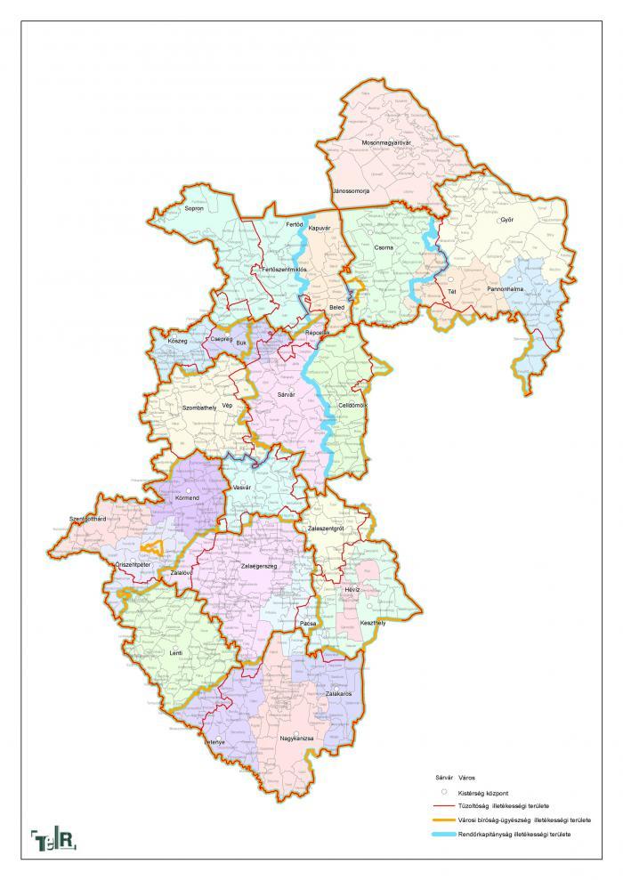 nyugat magyarország térkép Illetékességi területek (tűzoltóság, városi bíróság ügyészség  nyugat magyarország térkép