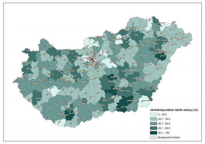 A járásközpontban lakók aránya