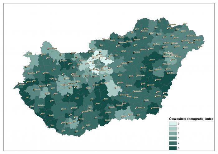 Összesített demográfiai index járási területi szinten (néps, öreged. index, vánd