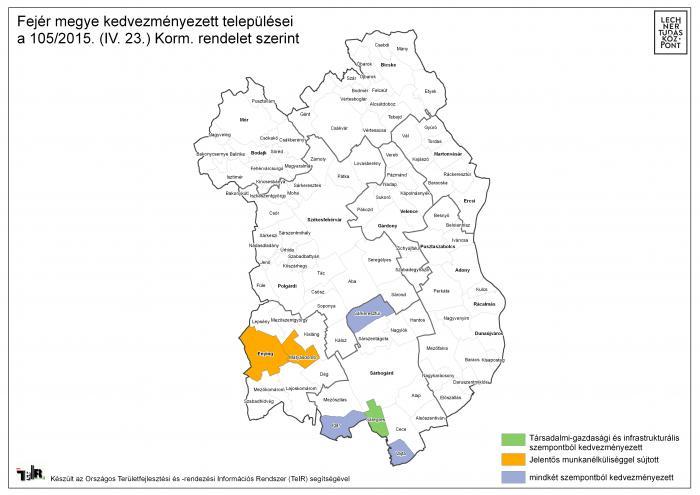 fejér megye térkép Fejér megye kedvezményezett települései a 105/2015. (IV. 23.) Korm  fejér megye térkép
