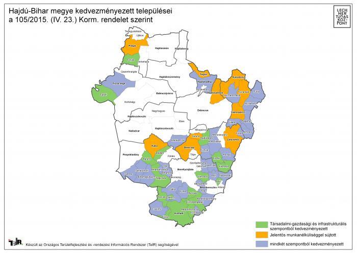 hajdú bihar megye térkép Hajdú Bihar megye kedvezményezett települései a 105/2015. (IV. 23  hajdú bihar megye térkép