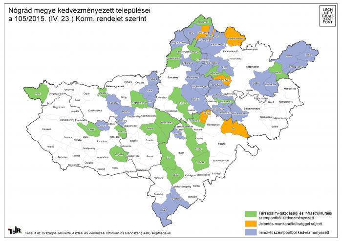 nógrád megye térkép Nógrád megye kedvezményezett települései a 105/2015. (IV. 23  nógrád megye térkép