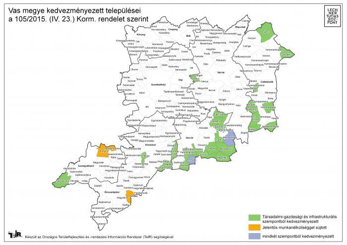 vas megye térkép Vas megye kedvezményezett települései a 105/2015. (IV. 23.) Korm  vas megye térkép