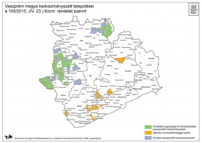 veszprém megye térkép Veszprém megye kedvezményezett települései a 105/2015. (IV. 23  veszprém megye térkép