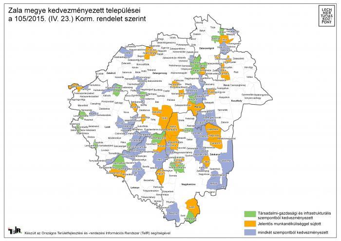 zala megye térkép Zala megye kedvezményezett települései a 105/2015. (IV. 23.) Korm  zala megye térkép