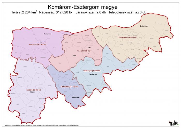 komárom esztergom megye térkép Komárom Esztergom megye járásai (terület: 2 264 km2, népesség: 312  komárom esztergom megye térkép