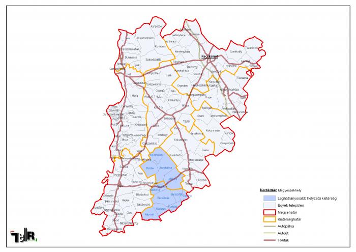 bács megye térkép Leghátrányosabb helyzetű kistérségek települései Bács Kiskun