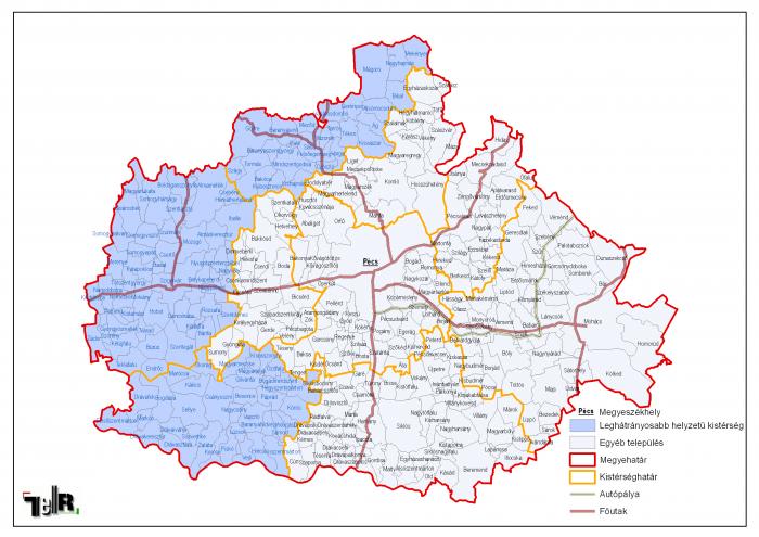 baranya megye térkép Leghátrányosabb helyzetű kistérségek települései Baranya megyében
