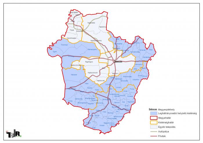 hajdú bihar megye térkép Leghátrányosabb helyzetű kistérségek települései Hajdú Bihar  hajdú bihar megye térkép