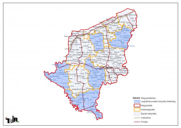somogy megye térkép Leghátrányosabb helyzetű kistérségek települései Somogy megyében