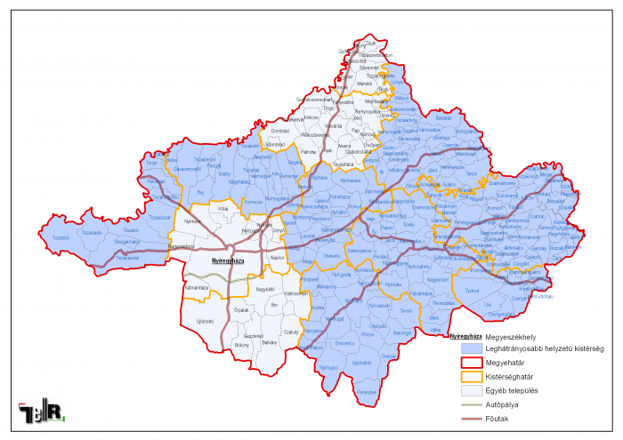 szabolcs megye térkép Leghátrányosabb helyzetű kistérségek települései Szabolcs Szatmár  szabolcs megye térkép