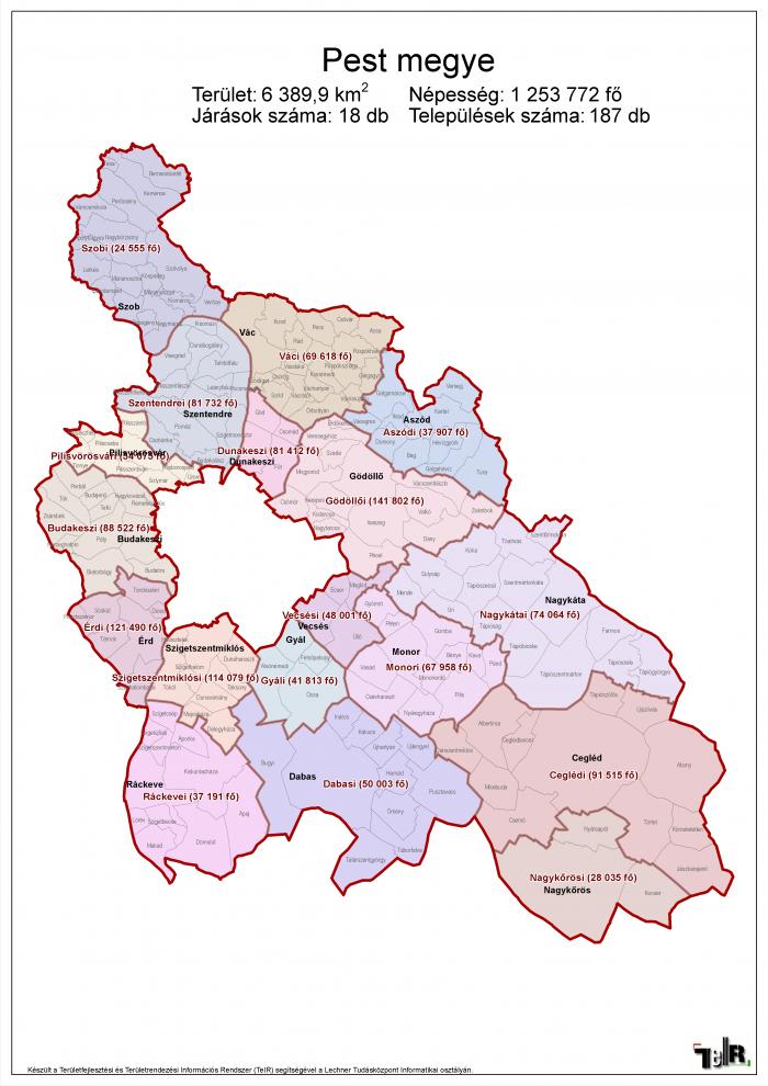 pest megye térkép Pest megye járásai (terület: 6 389,9 km2, népesség: 1 253 772 fő  pest megye térkép