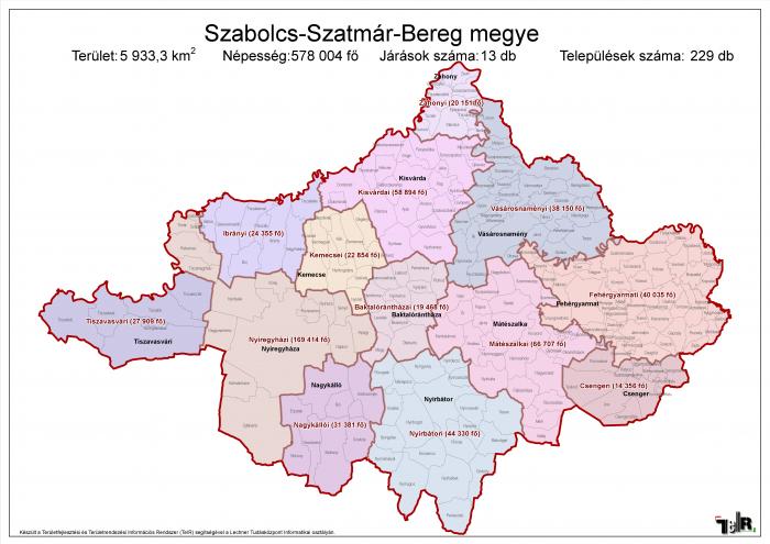 szabolcs szatmár bereg megye térkép Szabolcs Szatmár Bereg megye járásai (terület: 5 933,3 km2