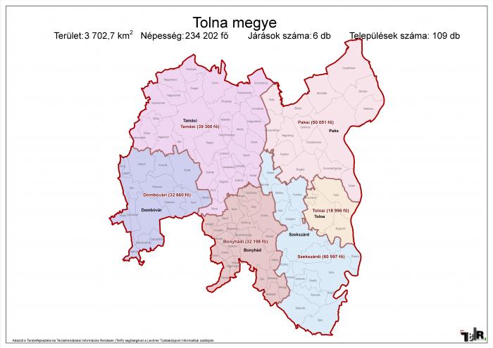 tolna megye térkép Tolna megye járásai (terület: 3 702,7 km2, népesség: 234 202 fő  tolna megye térkép